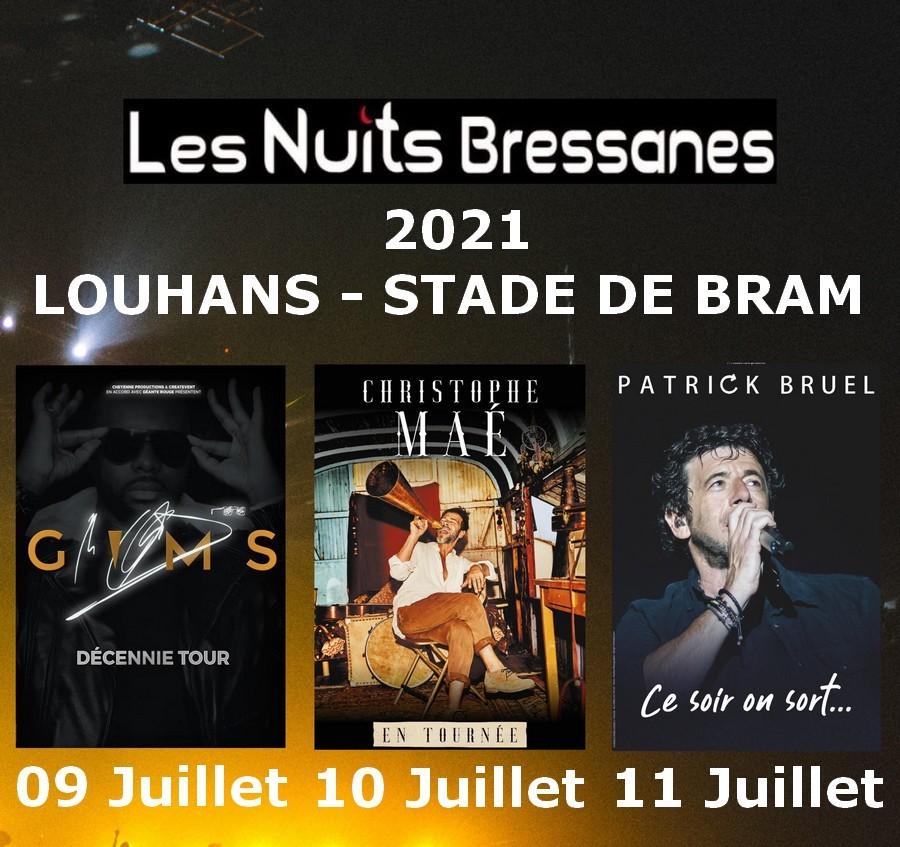 affiche-nuits-bressanes-2021--Louhans-Gims-Christophe Mae-Patrick Bruel-Zazie-Bresse-bourguignonne