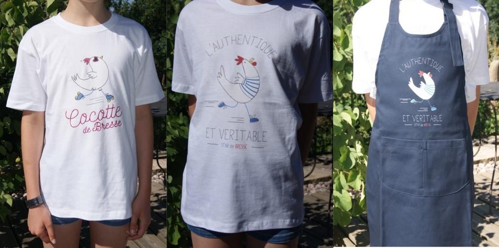 Tee-shirts et tablier Star et Poulette de Bresse